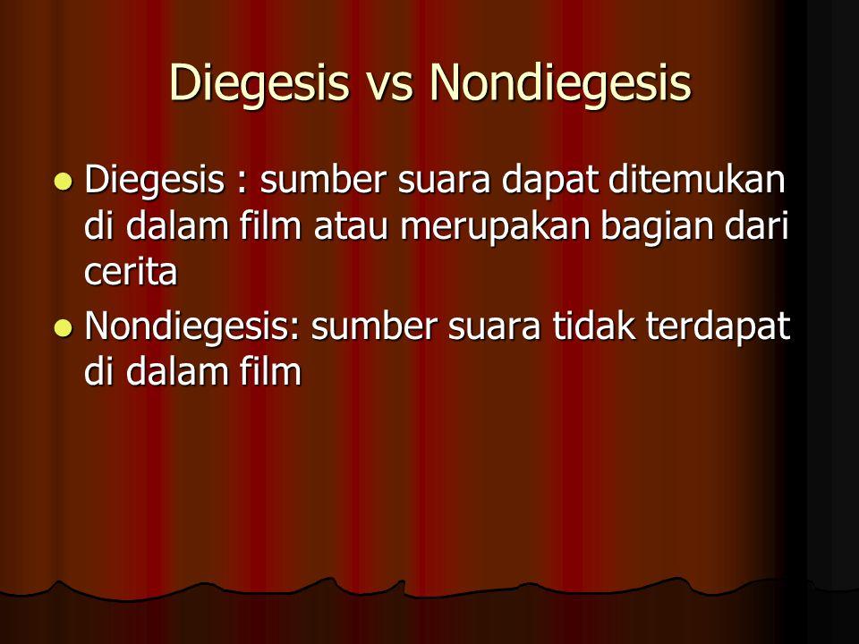 Diegesis vs Nondiegesis Diegesis : sumber suara dapat ditemukan di dalam film atau merupakan bagian dari cerita Diegesis : sumber suara dapat ditemukan di dalam film atau merupakan bagian dari cerita Nondiegesis: sumber suara tidak terdapat di dalam film Nondiegesis: sumber suara tidak terdapat di dalam film