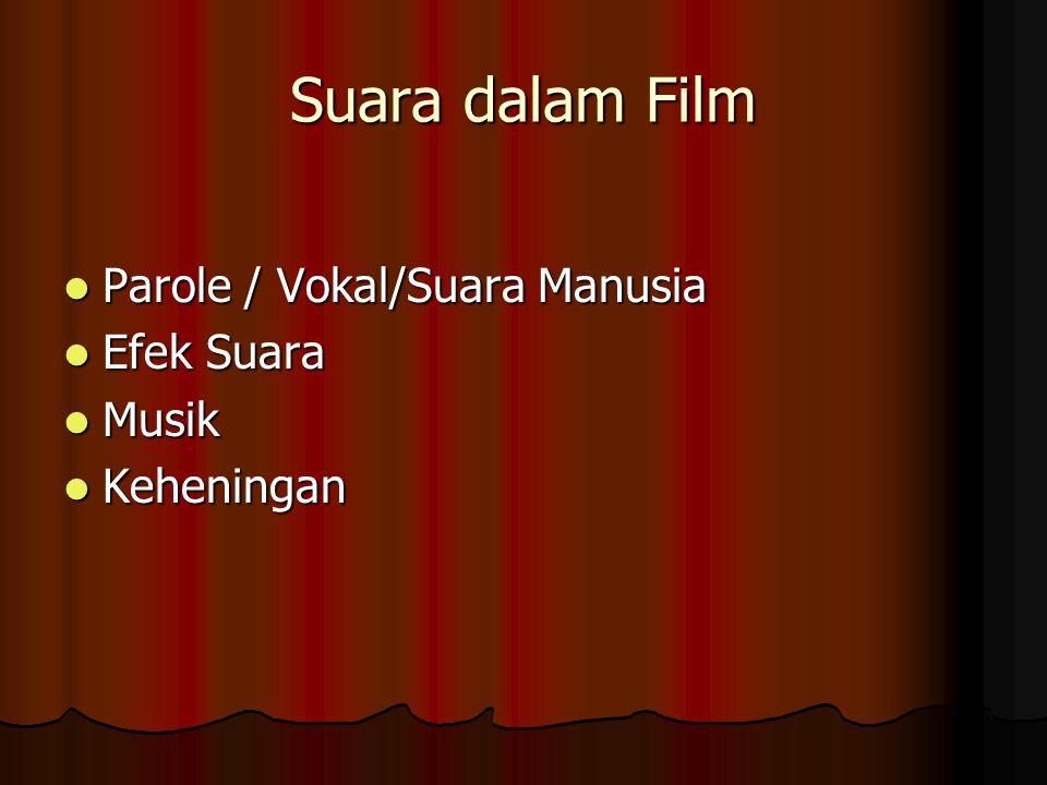 Suara dalam Film Parole / Vokal/Suara Manusia Parole / Vokal/Suara Manusia Efek Suara Efek Suara Musik Musik Keheningan Keheningan