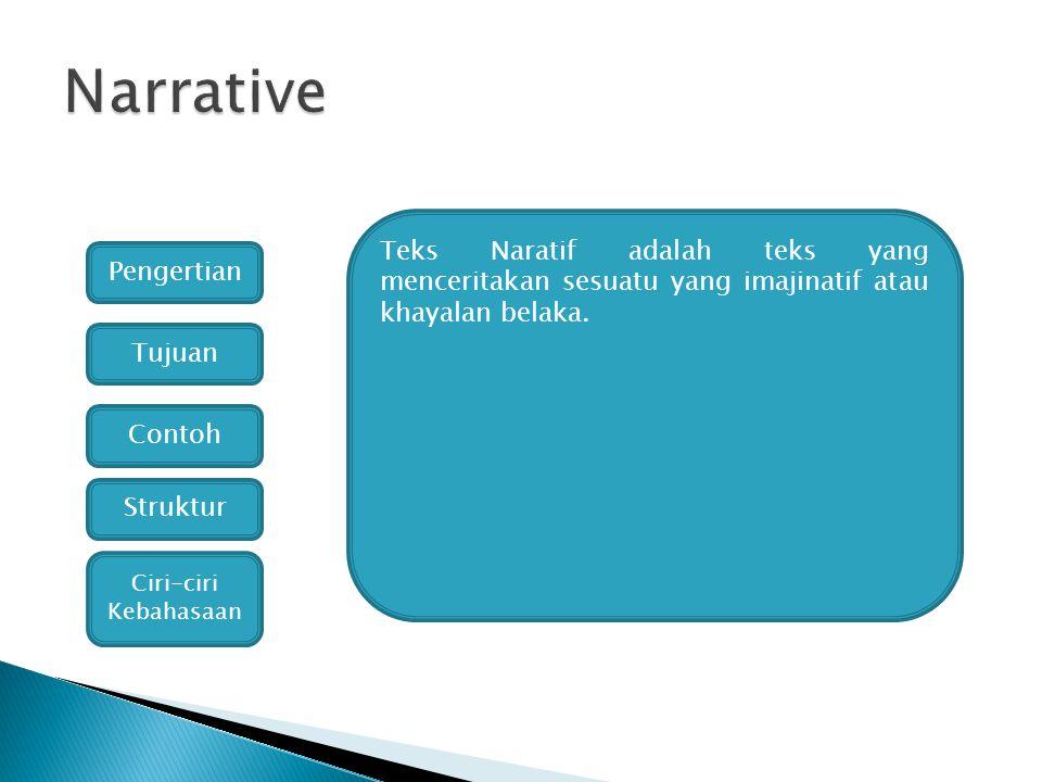 Pengertian Tujuan Contoh Struktur Ciri-ciri Kebahasaan Teks Naratif adalah teks yang menceritakan sesuatu yang imajinatif atau khayalan belaka.