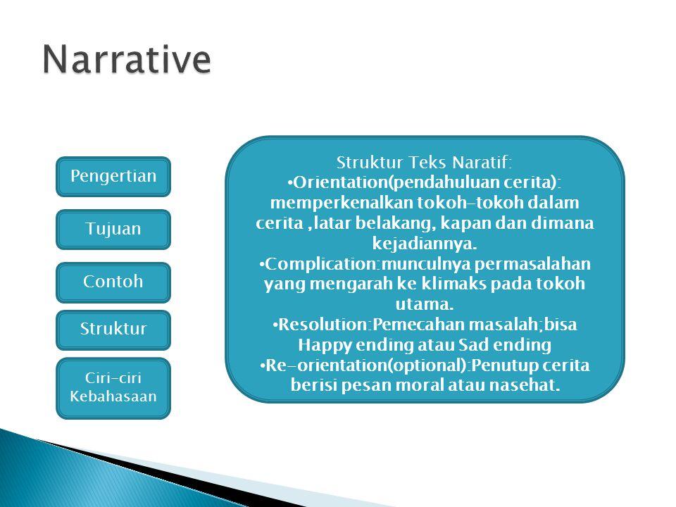 Struktur Teks Naratif: Orientation(pendahuluan cerita): memperkenalkan tokoh-tokoh dalam cerita,latar belakang, kapan dan dimana kejadiannya. Complica
