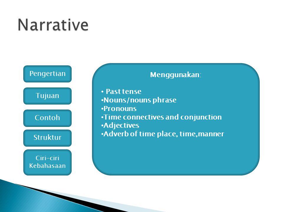 Pengertian Tujuan Contoh Struktur Ciri-ciri Kebahasaan Menggunakan: Past tense Nouns/nouns phrase Pronouns Time connectives and conjunction Adjectives
