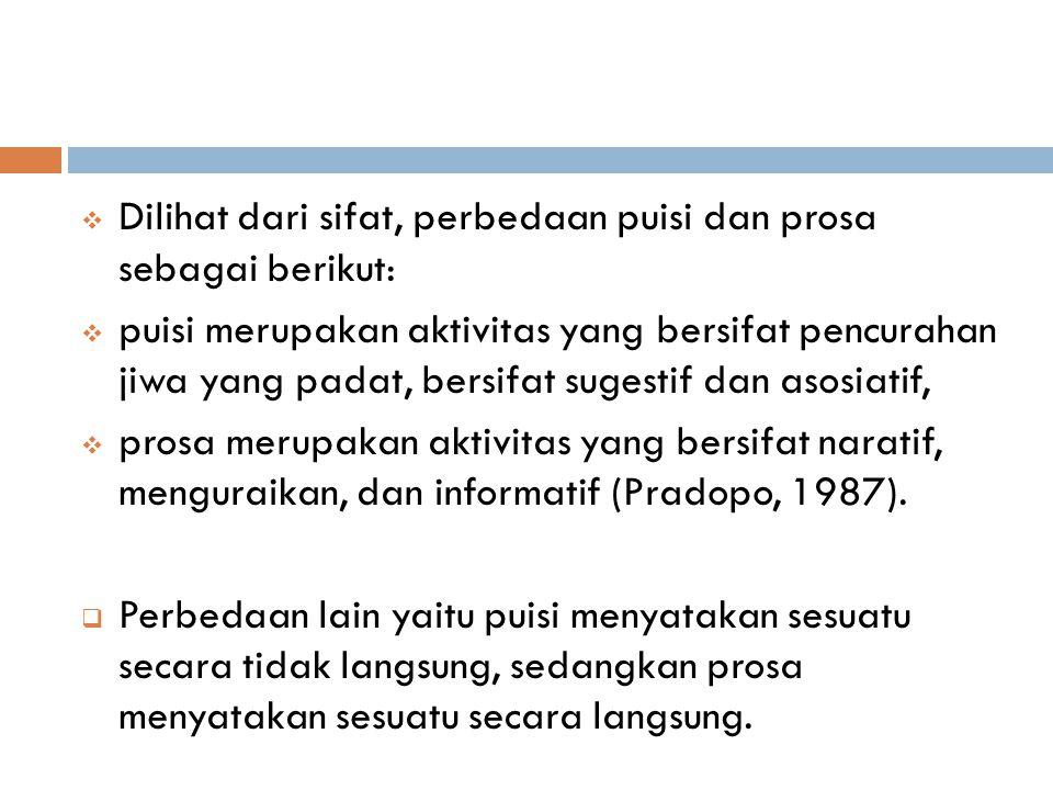  Dilihat dari sifat, perbedaan puisi dan prosa sebagai berikut:  puisi merupakan aktivitas yang bersifat pencurahan jiwa yang padat, bersifat sugestif dan asosiatif,  prosa merupakan aktivitas yang bersifat naratif, menguraikan, dan informatif (Pradopo, 1987).