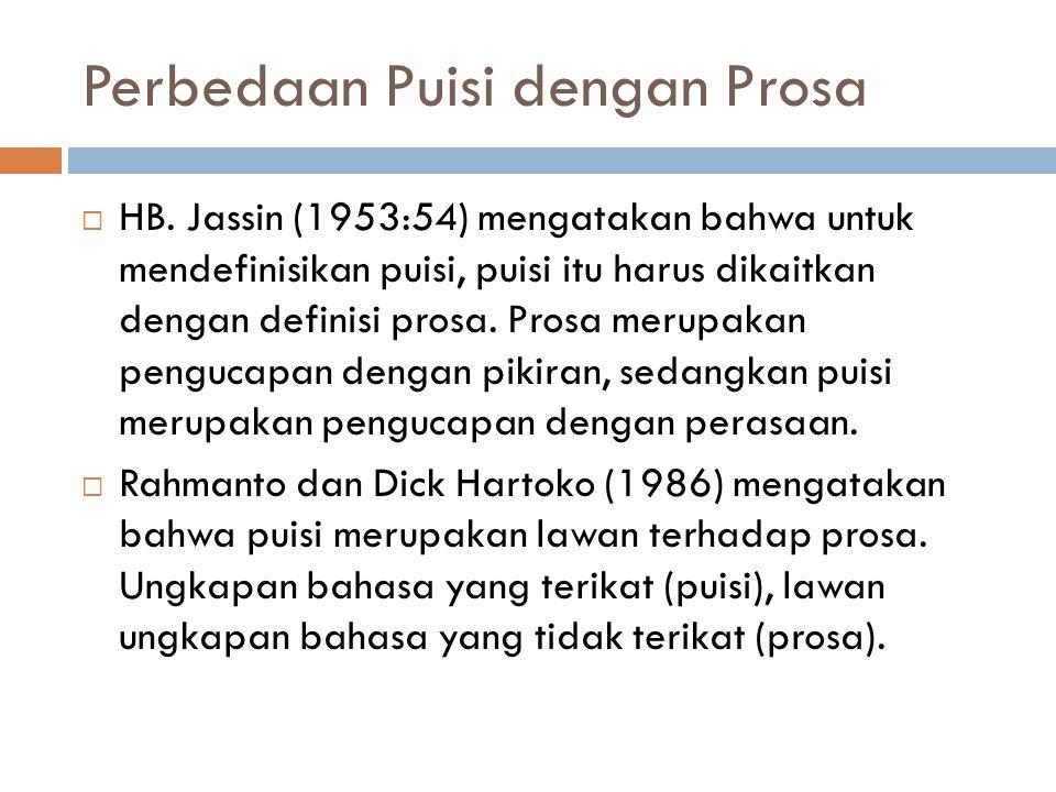 Perbedaan Puisi dengan Prosa  HB.