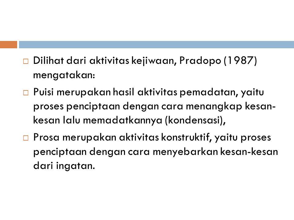  Dilihat dari aktivitas kejiwaan, Pradopo (1987) mengatakan:  Puisi merupakan hasil aktivitas pemadatan, yaitu proses penciptaan dengan cara menangkap kesan- kesan lalu memadatkannya (kondensasi),  Prosa merupakan aktivitas konstruktif, yaitu proses penciptaan dengan cara menyebarkan kesan-kesan dari ingatan.