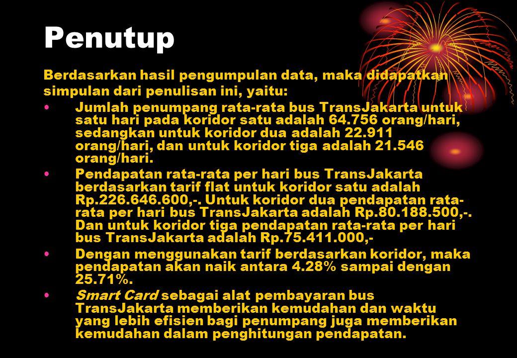 Penutup Berdasarkan hasil pengumpulan data, maka didapatkan simpulan dari penulisan ini, yaitu: Jumlah penumpang rata-rata bus TransJakarta untuk satu hari pada koridor satu adalah 64.756 orang/hari, sedangkan untuk koridor dua adalah 22.911 orang/hari, dan untuk koridor tiga adalah 21.546 orang/hari.