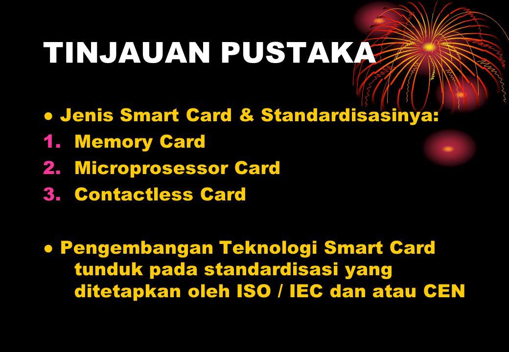 TINJAUAN PUSTAKA ● Jenis Smart Card & Standardisasinya: 1.Memory Card 2.Microprosessor Card 3.Contactless Card ● Pengembangan Teknologi Smart Card tunduk pada standardisasi yang ditetapkan oleh ISO / IEC dan atau CEN