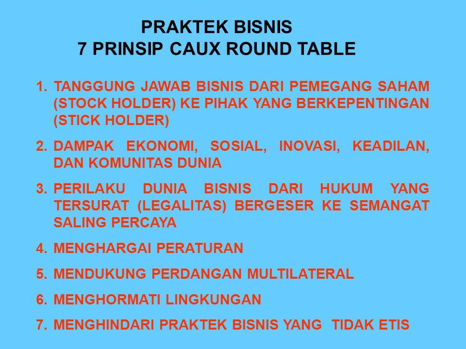 PRAKTEK BISNIS 7 PRINSIP CAUX ROUND TABLE 1.TANGGUNG JAWAB BISNIS DARI PEMEGANG SAHAM (STOCK HOLDER) KE PIHAK YANG BERKEPENTINGAN (STICK HOLDER) 2.DAM