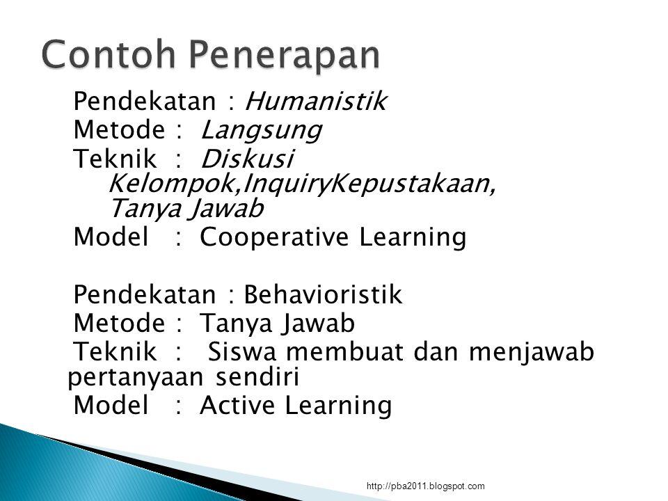 Pendekatan : Humanistik Metode : Langsung Teknik : Diskusi Kelompok,InquiryKepustakaan, Tanya Jawab Model : Cooperative Learning Pendekatan : Behavior
