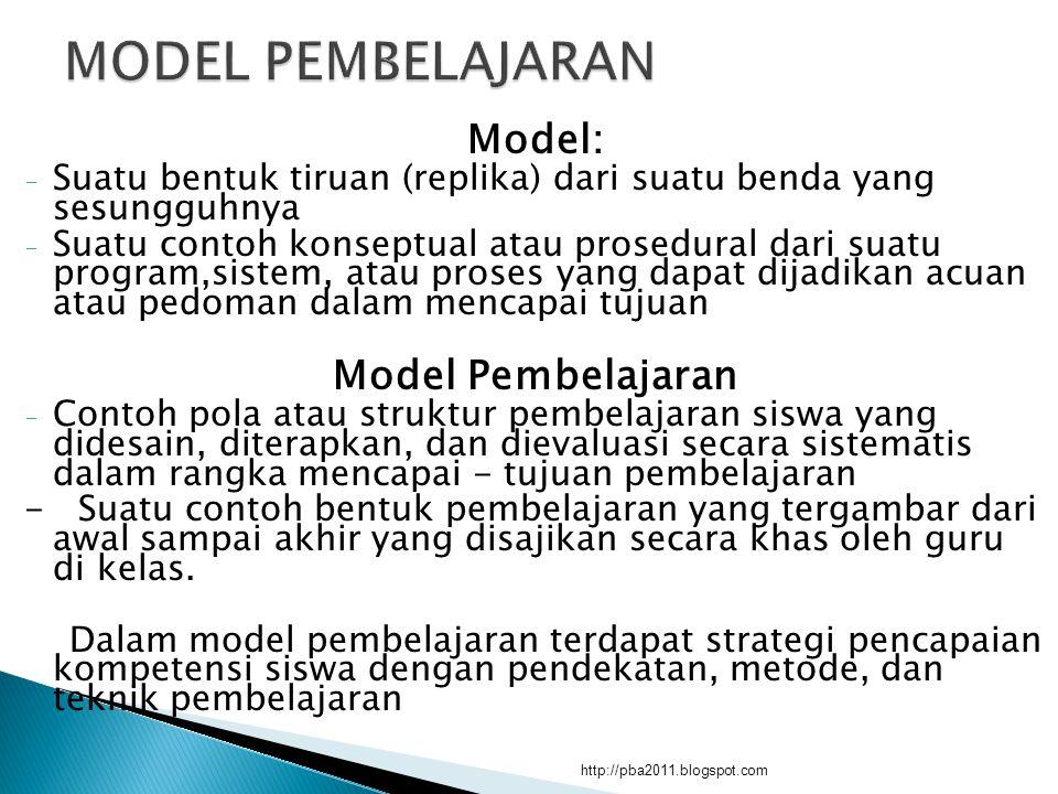 Model: - Suatu bentuk tiruan (replika) dari suatu benda yang sesungguhnya - Suatu contoh konseptual atau prosedural dari suatu program,sistem, atau pr