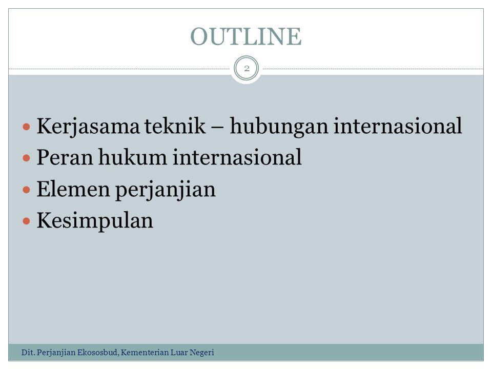 OUTLINE Kerjasama teknik – hubungan internasional Peran hukum internasional Elemen perjanjian Kesimpulan 2 Dit.