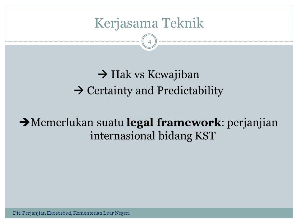 Kerjasama Teknik  Hak vs Kewajiban  Certainty and Predictability  Memerlukan suatu legal framework: perjanjian internasional bidang KST 4 Dit.