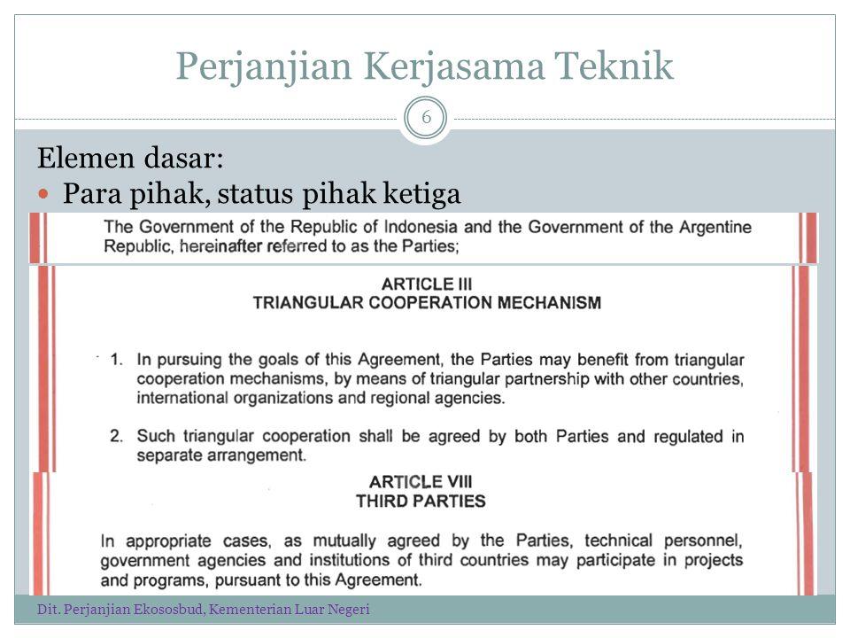 Perjanjian Kerjasama Teknik Elemen dasar: Para pihak, status pihak ketiga 6 Dit.