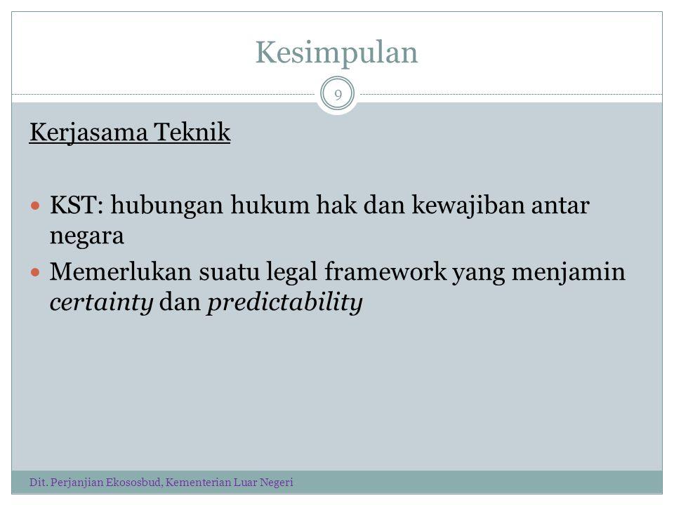 Kesimpulan Kerjasama Teknik KST: hubungan hukum hak dan kewajiban antar negara Memerlukan suatu legal framework yang menjamin certainty dan predictability 9 Dit.