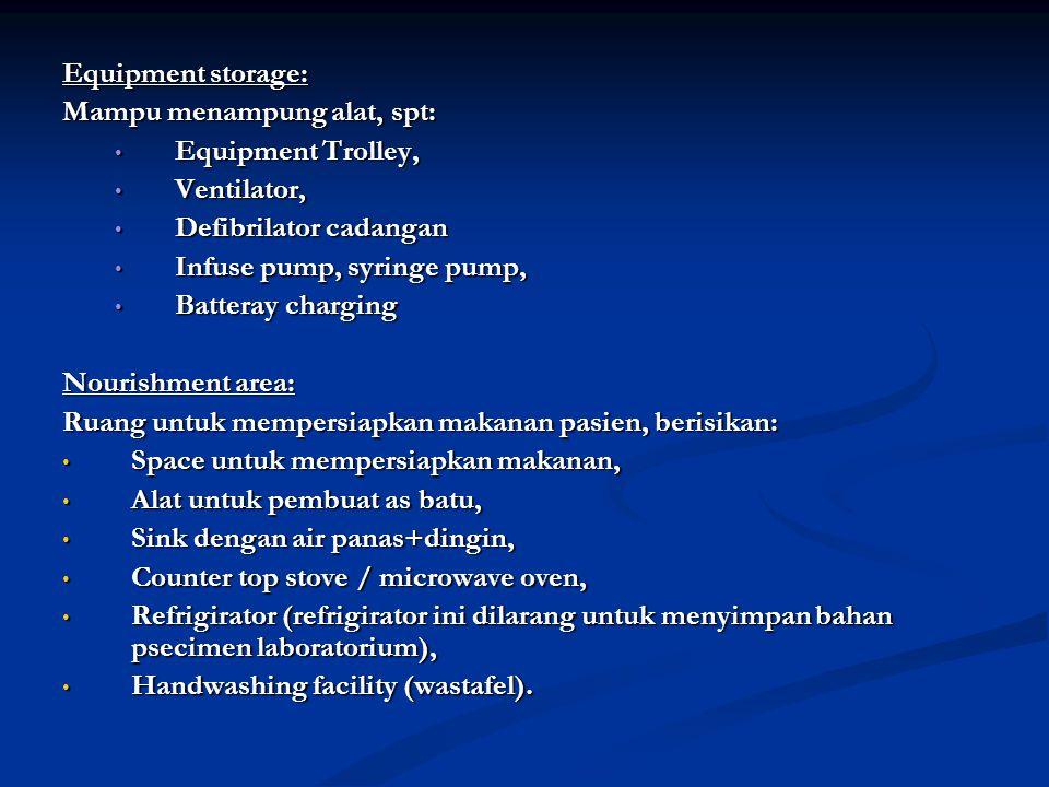 Equipment storage: Mampu menampung alat, spt: Equipment Trolley, Equipment Trolley, Ventilator, Ventilator, Defibrilator cadangan Defibrilator cadanga