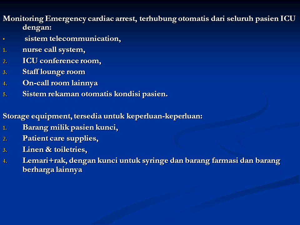 Monitoring Emergency cardiac arrest, terhubung otomatis dari seluruh pasien ICU dengan: sistem telecommunication, sistem telecommunication, 1. nurse c