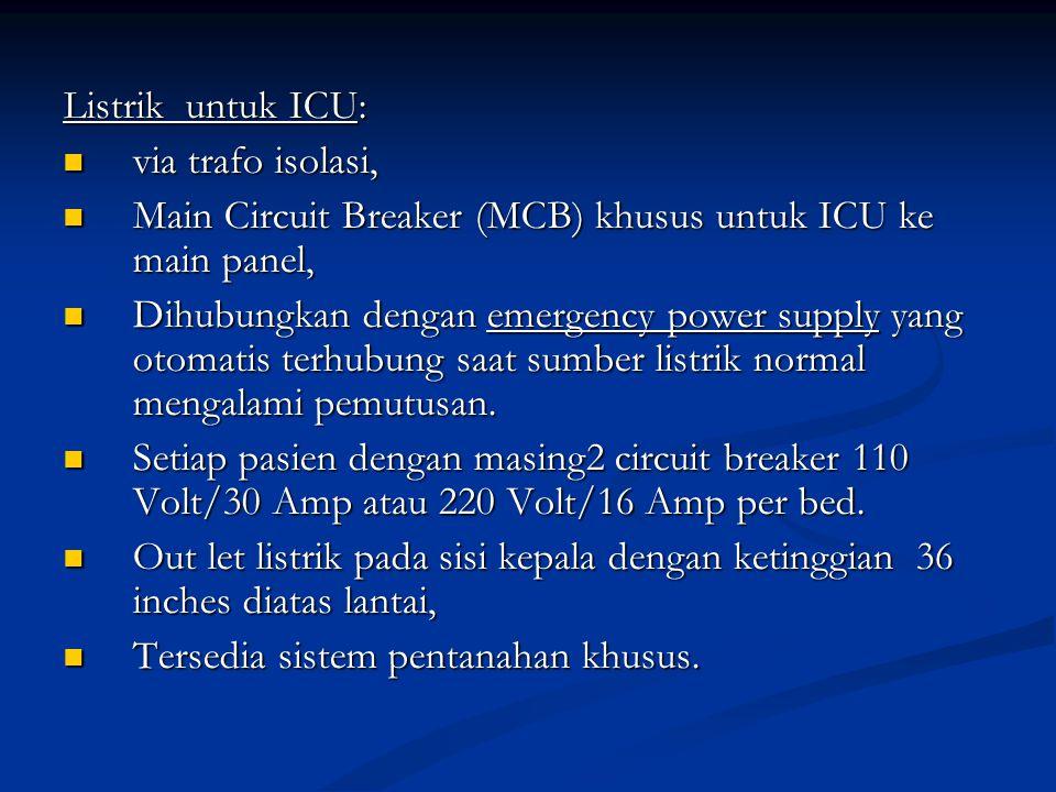 Listrik untuk ICU: via trafo isolasi, via trafo isolasi, Main Circuit Breaker (MCB) khusus untuk ICU ke main panel, Main Circuit Breaker (MCB) khusus