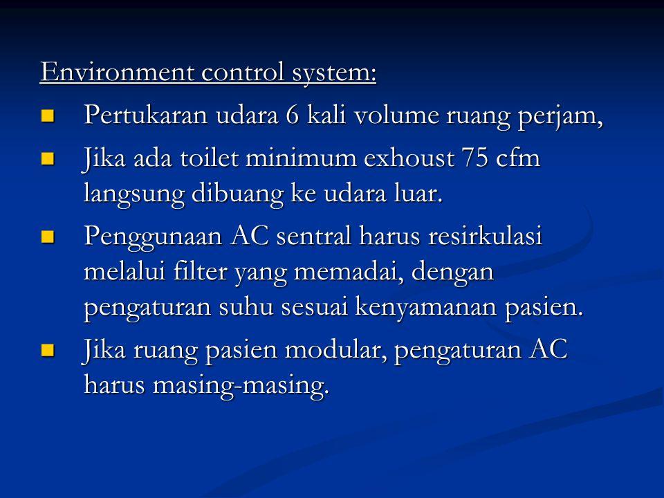 Environment control system: Pertukaran udara 6 kali volume ruang perjam, Pertukaran udara 6 kali volume ruang perjam, Jika ada toilet minimum exhoust