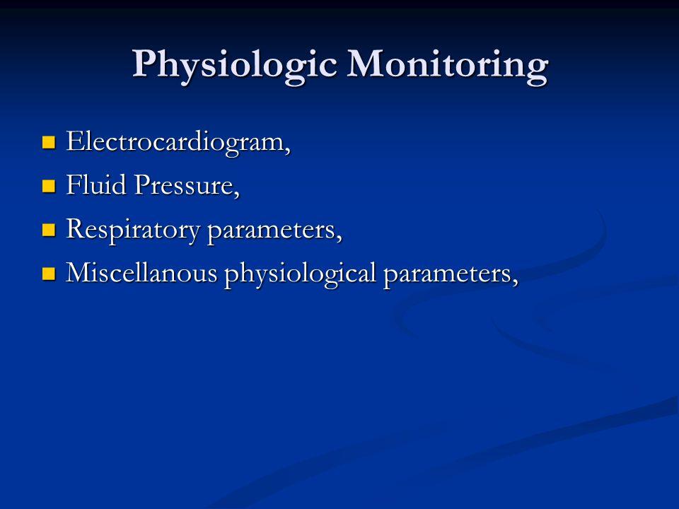 Physiologic Monitoring Electrocardiogram, Electrocardiogram, Fluid Pressure, Fluid Pressure, Respiratory parameters, Respiratory parameters, Miscellan
