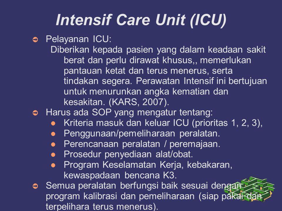 Intensif Care Unit (ICU) ➲ Pelayanan ICU: Diberikan kepada pasien yang dalam keadaan sakit berat dan perlu dirawat khusus,, memerlukan pantauan ketat