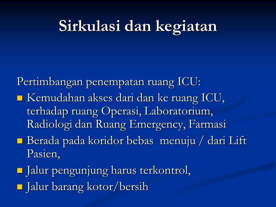 Sirkulasi dan kegiatan Pertimbangan penempatan ruang ICU: Kemudahan akses dari dan ke ruang ICU, terhadap ruang Operasi, Laboratorium, Radiologi dan R