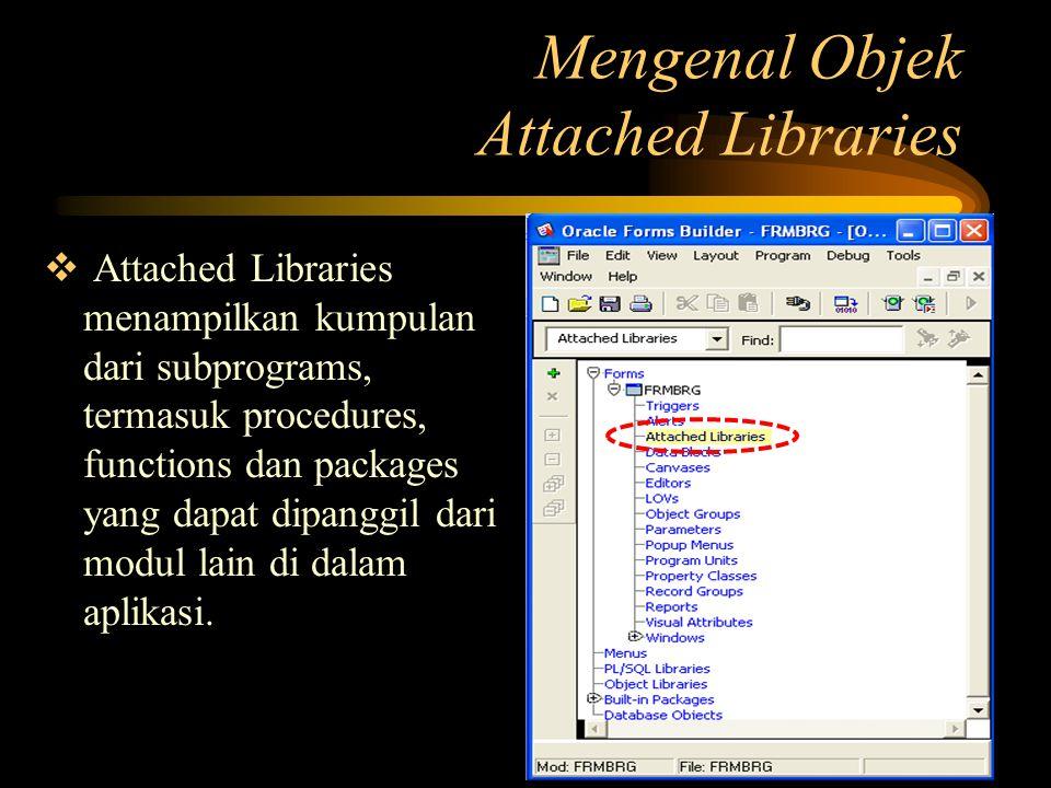  Attached Libraries menampilkan kumpulan dari subprograms, termasuk procedures, functions dan packages yang dapat dipanggil dari modul lain di dalam