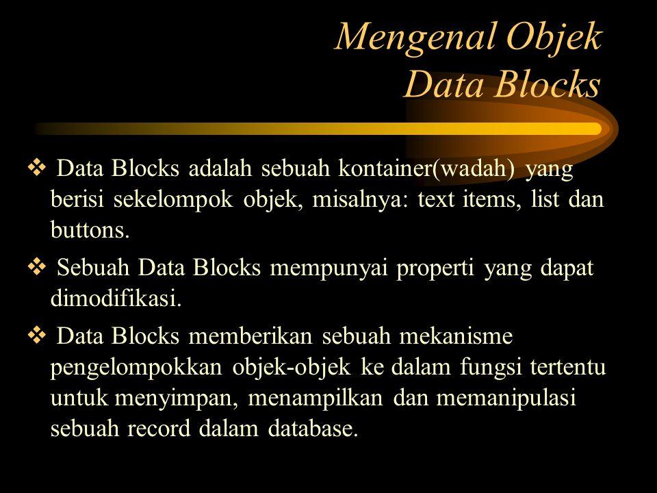  Data Blocks adalah sebuah kontainer(wadah) yang berisi sekelompok objek, misalnya: text items, list dan buttons.  Sebuah Data Blocks mempunyai prop