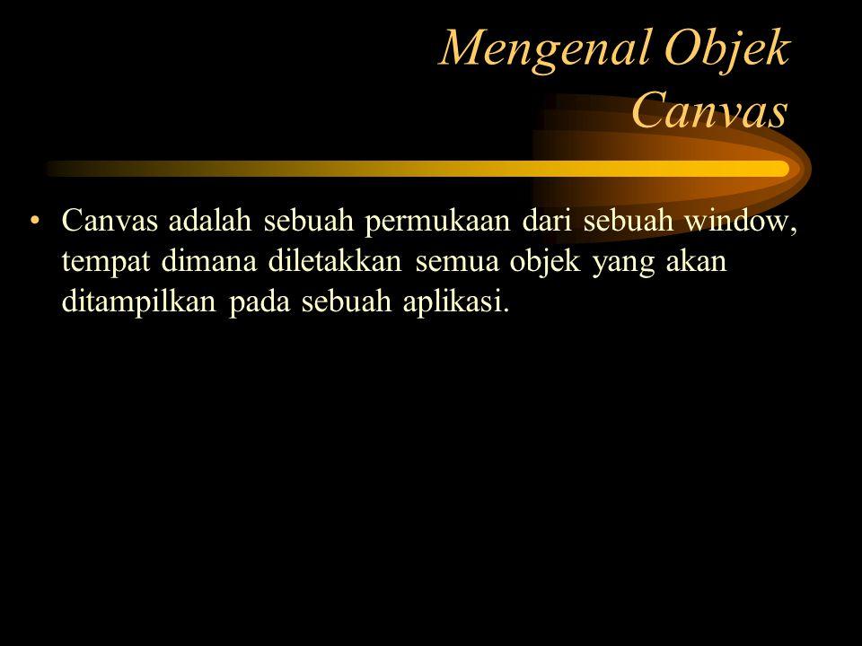 Canvas adalah sebuah permukaan dari sebuah window, tempat dimana diletakkan semua objek yang akan ditampilkan pada sebuah aplikasi. Mengenal Objek Can