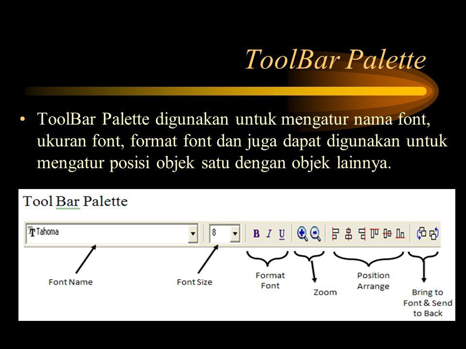 ToolBar Palette ToolBar Palette digunakan untuk mengatur nama font, ukuran font, format font dan juga dapat digunakan untuk mengatur posisi objek satu