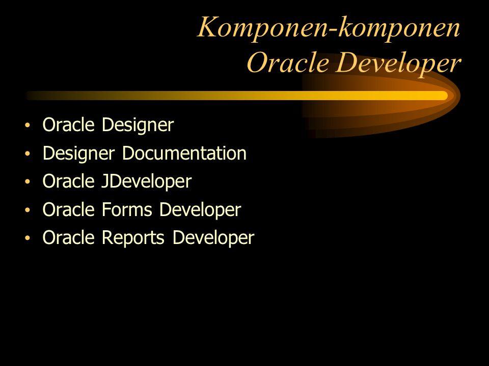 Oracle Designer Designer Documentation Oracle JDeveloper Oracle Forms Developer Oracle Reports Developer Komponen-komponen Oracle Developer