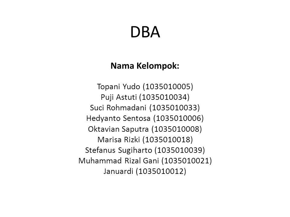DBA Nama Kelompok: Topani Yudo (1035010005) Puji Astuti (1035010034) Suci Rohmadani (1035010033) Hedyanto Sentosa (1035010006) Oktavian Saputra (1035010008) Marisa Rizki (1035010018) Stefanus Sugiharto (1035010039) Muhammad Rizal Gani (1035010021) Januardi (1035010012)