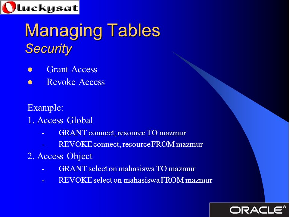 Managing Tables Security Grant Access Revoke Access Example: 1. Access Global -GRANT connect, resource TO mazmur -REVOKE connect, resource FROM mazmur