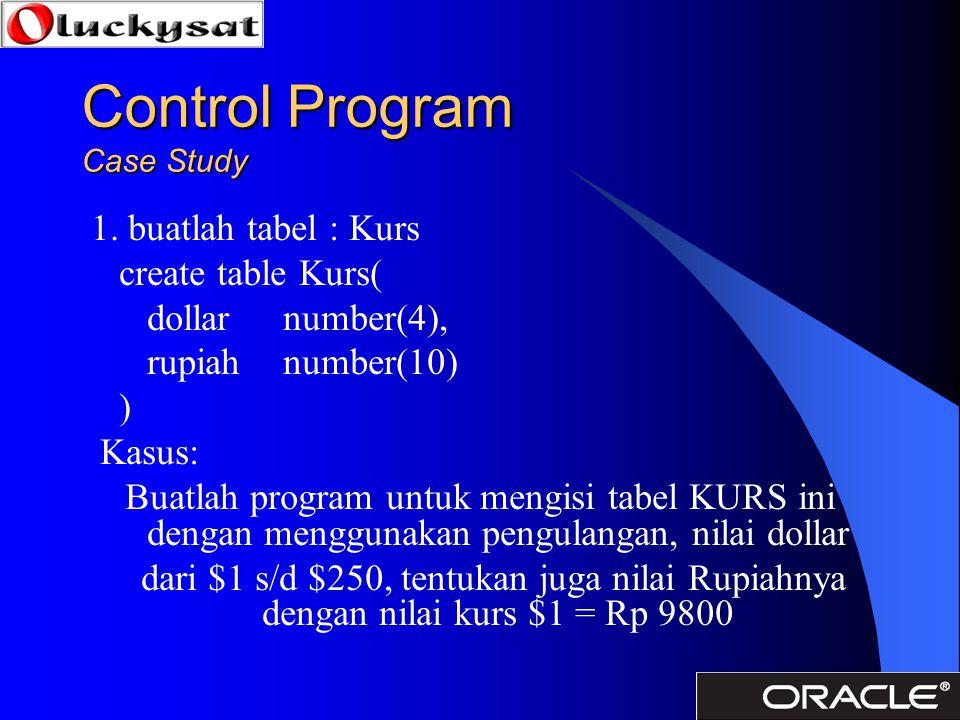 Control Program Case Study 1. buatlah tabel : Kurs create table Kurs( dollarnumber(4), rupiahnumber(10) ) Kasus: Buatlah program untuk mengisi tabel K