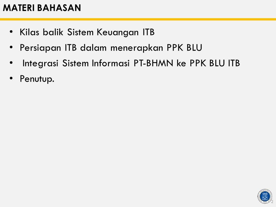 MATERI BAHASAN Kilas balik Sistem Keuangan ITB Persiapan ITB dalam menerapkan PPK BLU Integrasi Sistem Informasi PT-BHMN ke PPK BLU ITB Penutup. 2