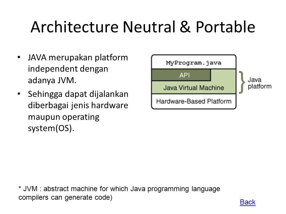 Architecture Neutral & Portable JAVA merupakan platform independent dengan adanya JVM. Sehingga dapat dijalankan diberbagai jenis hardware maupun oper