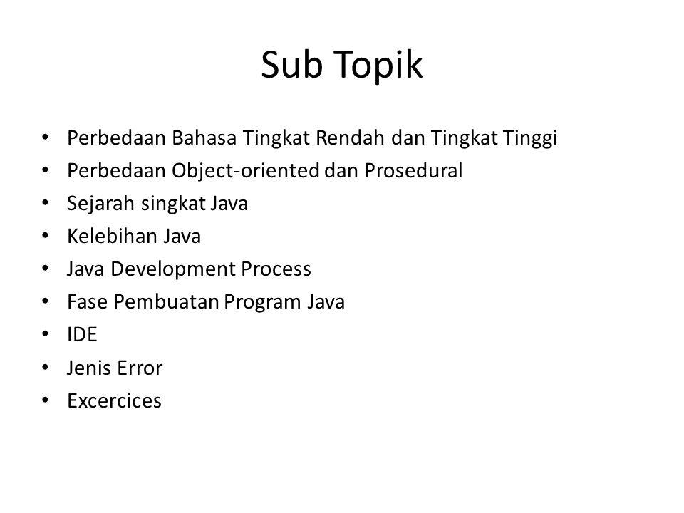 Sub Topik Perbedaan Bahasa Tingkat Rendah dan Tingkat Tinggi Perbedaan Object-oriented dan Prosedural Sejarah singkat Java Kelebihan Java Java Develop