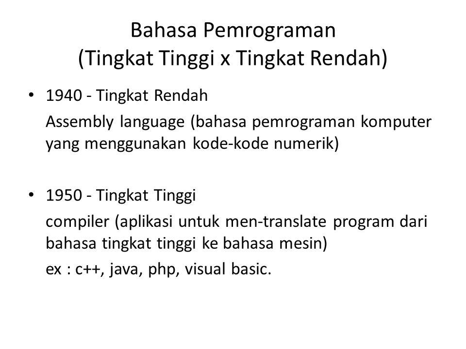 Bahasa Pemrograman (Tingkat Tinggi x Tingkat Rendah) 1940 - Tingkat Rendah Assembly language (bahasa pemrograman komputer yang menggunakan kode-kode n