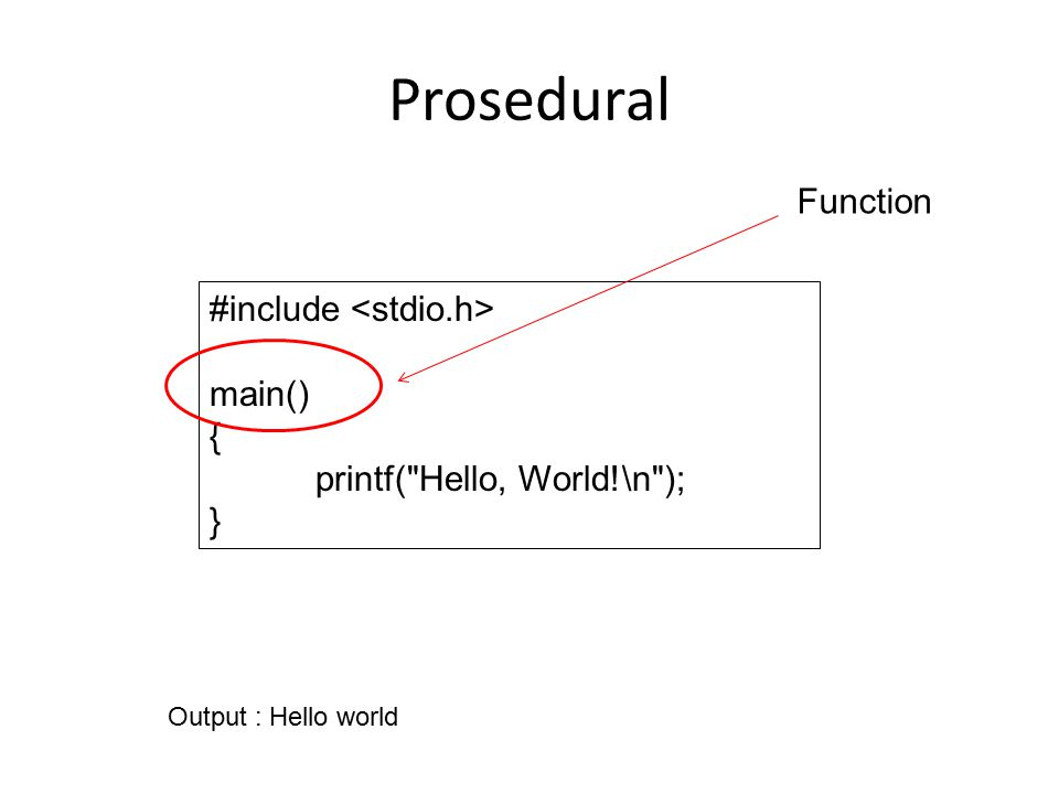 Prosedural #include main() { printf( Hello, World!\n ); } Output : Hello world Function