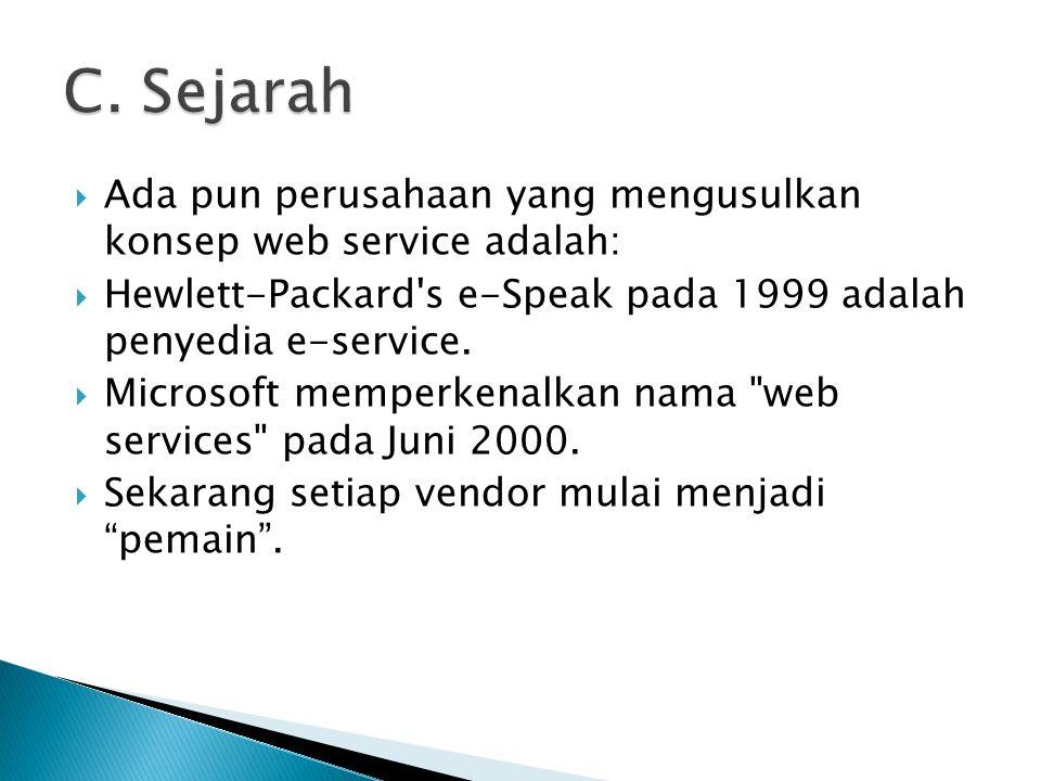  WSDL Web Services Description Language http://www.w3.org/TR/wsdl Deskripsi- deskripsi dari web service UDDI Universal Discovery, Description & Integration http://www.uddi.org/specification.html Registry mengenai deskripsi servis SOAP Simple Object Access Protocol http://www.w3.org/TR/SOAP/ Protokol transport untuk berkomunikasi antar web service Standard-standard lain: WSRP, WSIA, WSXL…….