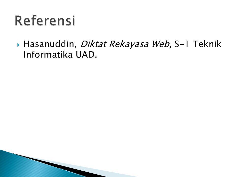  Hasanuddin, Diktat Rekayasa Web, S-1 Teknik Informatika UAD.