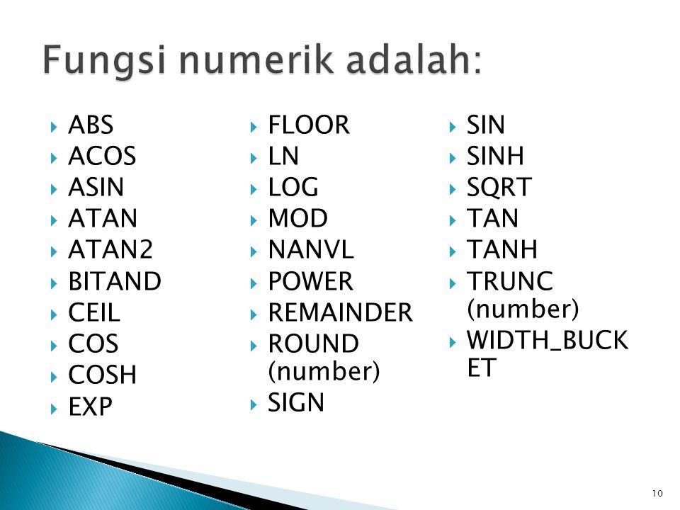  ABS  ACOS  ASIN  ATAN  ATAN2  BITAND  CEIL  COS  COSH  EXP  FLOOR  LN  LOG  MOD  NANVL  POWER  REMAINDER  ROUND (number)  SIGN  S