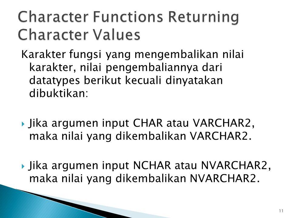 Karakter fungsi yang mengembalikan nilai karakter, nilai pengembaliannya dari datatypes berikut kecuali dinyatakan dibuktikan:  Jika argumen input CH