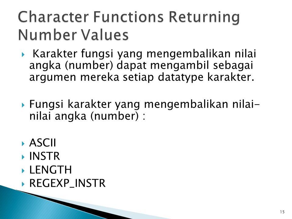  Karakter fungsi yang mengembalikan nilai angka (number) dapat mengambil sebagai argumen mereka setiap datatype karakter.  Fungsi karakter yang meng