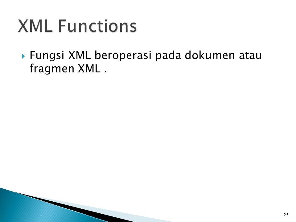  Fungsi XML beroperasi pada dokumen atau fragmen XML. 25