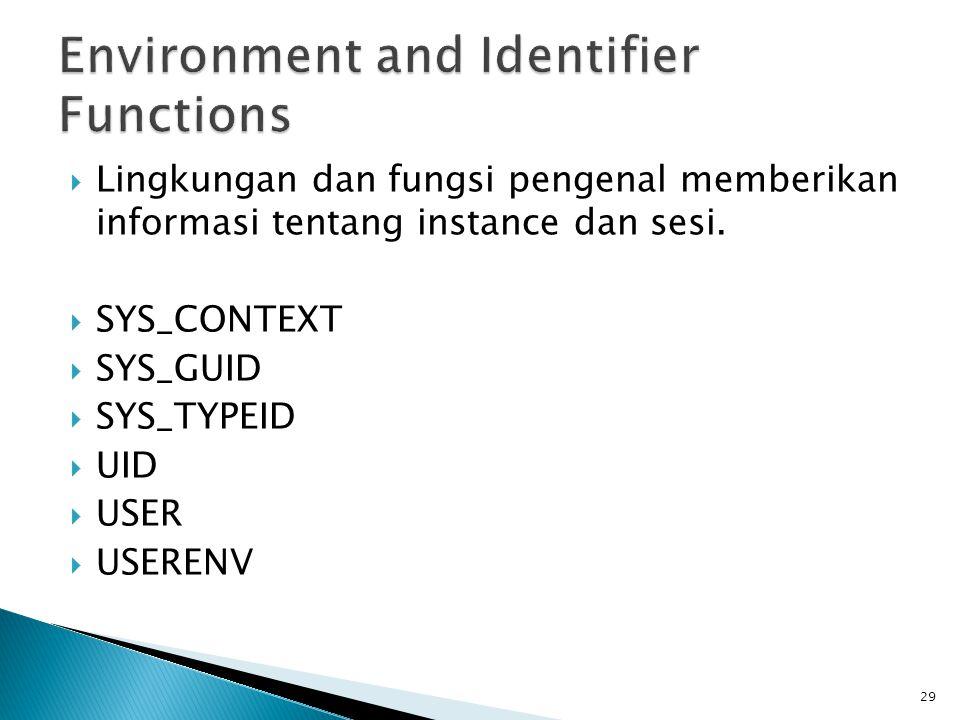  Lingkungan dan fungsi pengenal memberikan informasi tentang instance dan sesi.  SYS_CONTEXT  SYS_GUID  SYS_TYPEID  UID  USER  USERENV 29