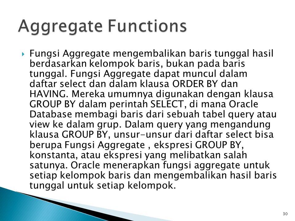  Fungsi Aggregate mengembalikan baris tunggal hasil berdasarkan kelompok baris, bukan pada baris tunggal. Fungsi Aggregate dapat muncul dalam daftar