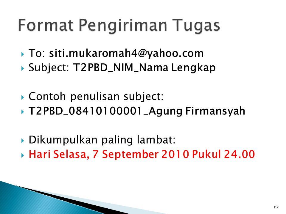  To: siti.mukaromah4@yahoo.com  Subject: T2PBD_NIM_Nama Lengkap  Contoh penulisan subject:  T2PBD_08410100001_Agung Firmansyah  Dikumpulkan palin
