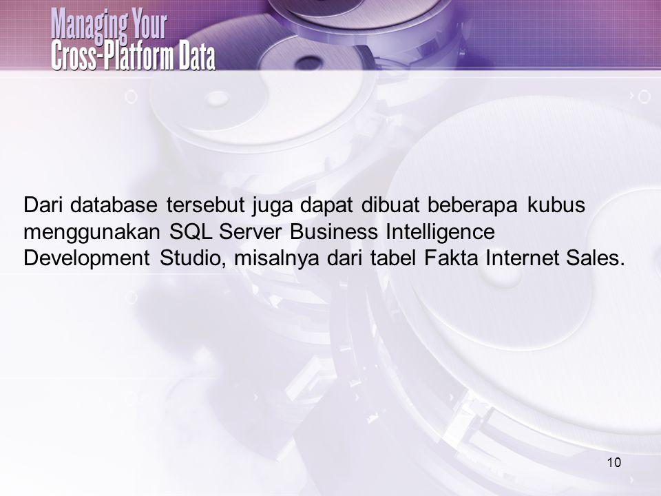 10 Dari database tersebut juga dapat dibuat beberapa kubus menggunakan SQL Server Business Intelligence Development Studio, misalnya dari tabel Fakta