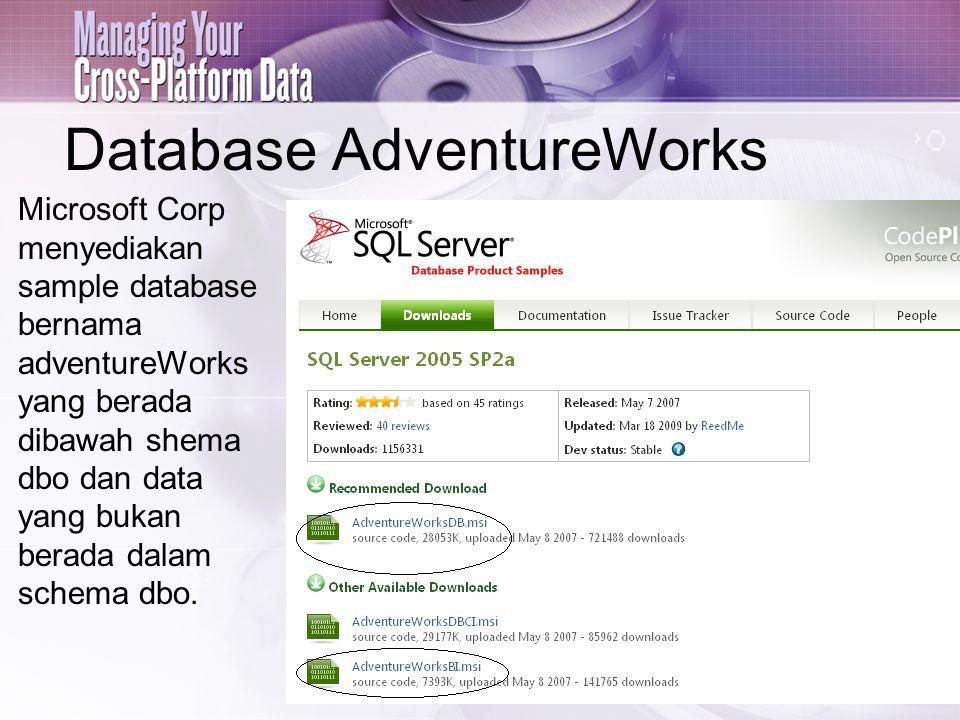 Link download: http://msftdbprodsamples.codeplex.com/releases/view/4004 Pilih data yang akan diambil, misal: AdventureWorksBI.msiAdventureWorksBI.msi dan AdventureWorksDB.msi Kemudian Install dan secara otomatis, lokasi hasil instalasi sample database tersebut adalah: C:\Program Files\Microsoft SQL Server\MSSQL.1\MSSQL\Data\ Buka SQL Server Management Studio dan ambil (attach) database tersebut.