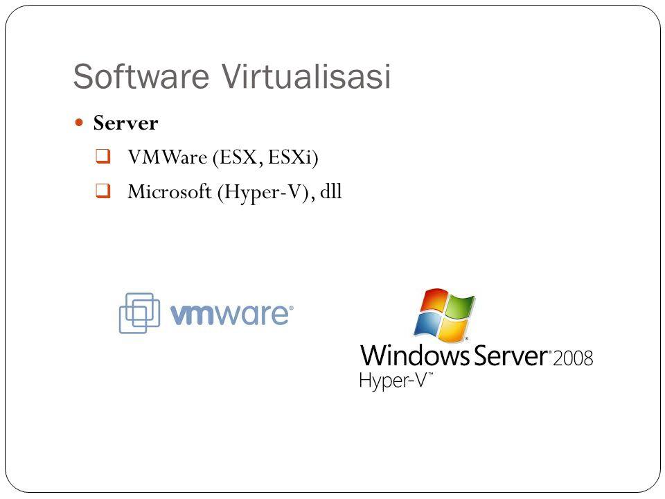Software Virtualisasi Server  VMWare (ESX, ESXi)  Microsoft (Hyper-V), dll