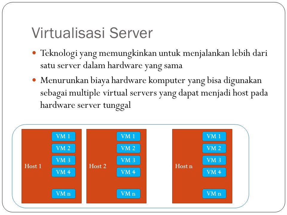 Teknologi yang memungkinkan untuk menjalankan lebih dari satu server dalam hardware yang sama Menurunkan biaya hardware komputer yang bisa digunakan sebagai multiple virtual servers yang dapat menjadi host pada hardware server tunggal Host 1 VM 3 VM 2 VM 1 VM 4 VM n Host 2 VM 3 VM 2 VM 1 VM 4 VM n Host n VM 3 VM 2 VM 1 VM 4 VM n